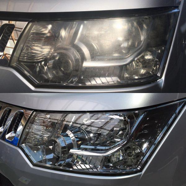 ヘッドライトの磨き前と磨き後の比較