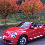 VW ビートルカブリオレ 赤いオープンカーのレンタカー